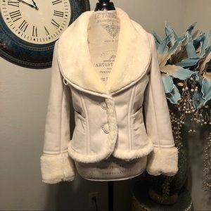 DKNY faux fur/ shearling Cream jacket size S
